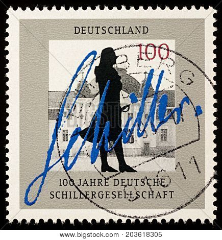 Moscow Russia - September 11 2017: A stamp printed in Germany shows silhouette of German poet Friedrich Schiller (1759-1805) dedicated to the Centenary of German Schiller Society circa 1995