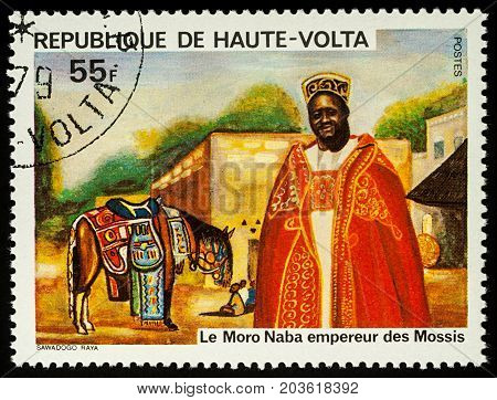 Moscow Russia - August 10 2017: A stamp printed in Upper Volta (Burkina Faso) shows Moro Naba emperor of the Mossis series