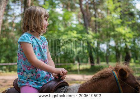 Cute little Caucasian girl riding on a little pony