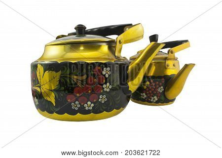 Isolated two vintage russian tea kettles with Khokhloma pattern. Russian traditional ceremony device, retro souvenir.