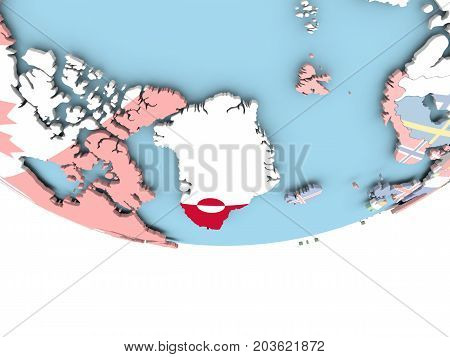 Map Of Greenland With Flag On Globe