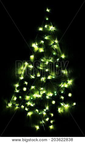 Green Bright Glowing Magic Christmas Tree. Silent And Peaceful Atomosphere. Christmas Card For Happy Holidays Or Seasons Greetings