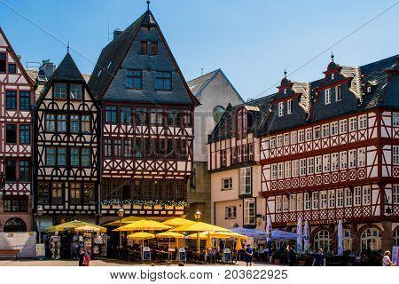Frankfurt, Germany - July 27, 2017: old town square romerberg. traditional buildings in Frankfurt at main in Germany