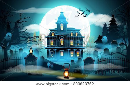Halloween background. Old scary house. Halloween landscape with castle and cemetery on blue moon background illustration. Vector illustration