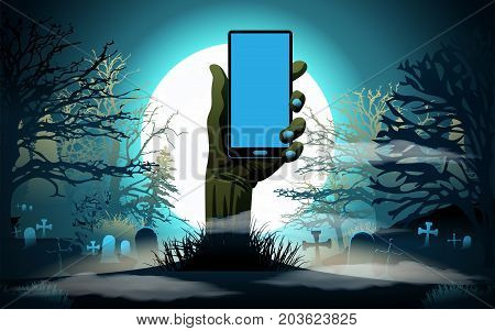 Halloween background. Hand with phone. Vector illustration