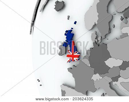 United Kingdom On Globe With Flag