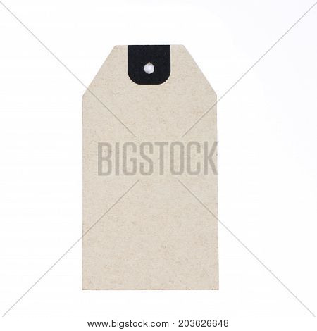 Blank paper label or cloth tag isolated on  white background