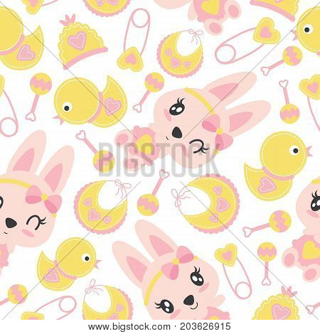 Seamless pattern of cute bunny girls and baby shower items vector cartoon illustration for baby shower wrapping paper, fabric clothes, and wallpaper
