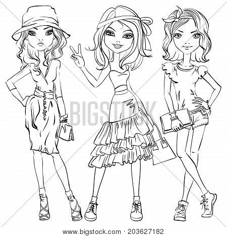 Black and white set of cute beautiful girls in t-shirt and skirt, shorts, with ribbon in his hair or hat and bag
