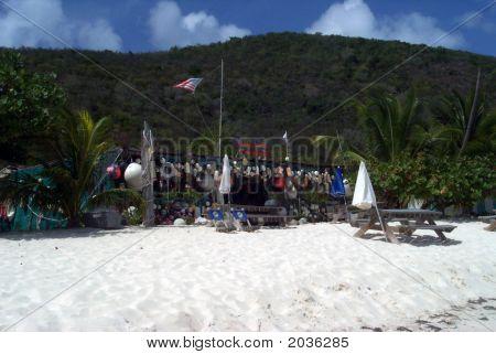 Vacant Beachside Bar In Caribbean