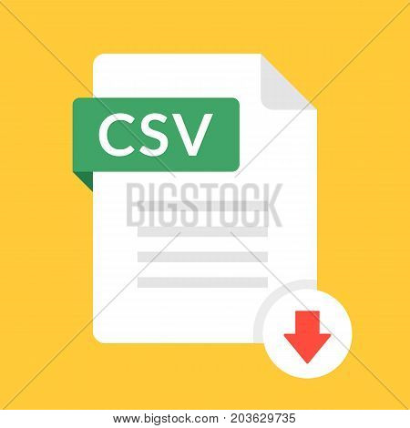 Download CSV icon. File with CSV label and down arrow sign. Comma-separated values. Downloading document concept. Flat design vector icon
