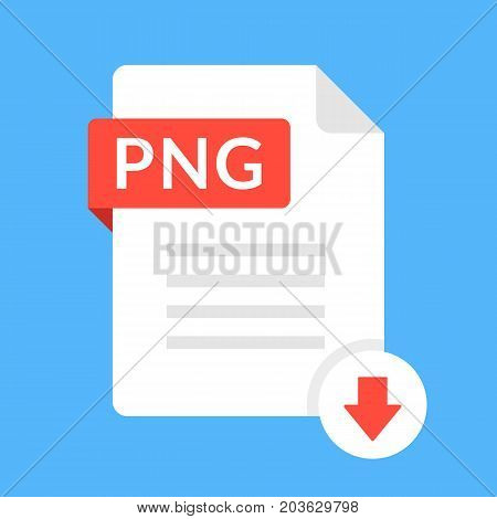 Download PNG icon. File with PNG label and down arrow sign. Image file format. Downloading document concept. Flat design vector icon