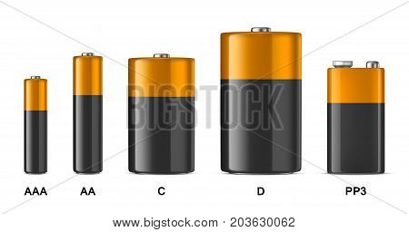 Vector realistic alkaline batteriy icon set. Diffrent size - AAA, AA, C, D, PP3. Design template for branding, mockup. Closeup isolated on white background. Stock vector. EPS10 illustration.