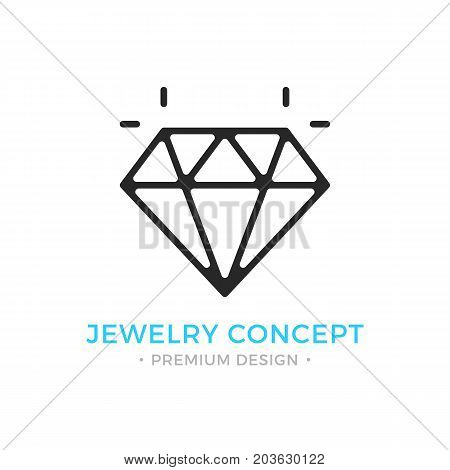 Jewelry icon. Outline gem logo. Jewellery, brilliant, emerald, shiny diamond concepts. Premium quality. Modern vector thin line icon isolated on white background