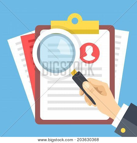 Clipboard with job candidate profile, hand holding magnifying glass. Candidate evaluation form, job application form, human resources, CV verification flat design elements concept. Vector illustration