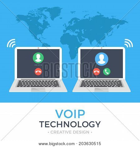 VoIP technology, voice over IP, IP telephony concepts. Two laptops dial. Laptop with incoming call and with outgoing call on screen. Internet calling web banner. Modern flat design vector illustration