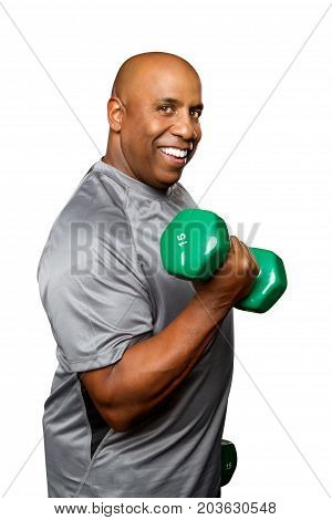 African American man lifting weights isolated on white.
