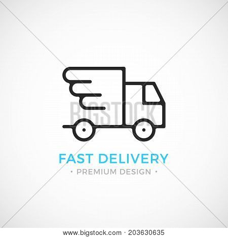 Fast delivery line icon. Shipping, express delivery concepts. Black vector icon isolated on trendy gradient background