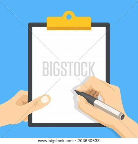 Hand holding clipboard with white blank sheet of paper and hand holding pen. Empty clipboard template. Modern flat design graphic elements. Vector illustration