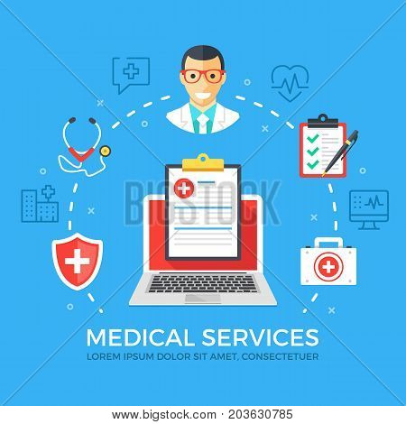 Medical services flat illustration concept. Laptop with medical clipboard. Creative flat icons set, thin line icons set, elements for web banners, web sites, infographics. Modern vector illustration