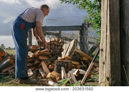 Man chops firewood in summer. Photo in the daytime.