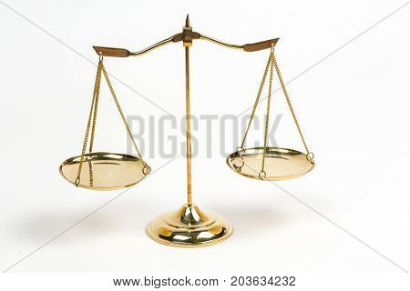 Golden Scales Of Justice For Lawyer Courtroom Decoration Object.
