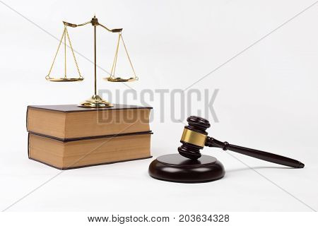 Vintage Book And Gavel With Scales Of Justice For Lawyer Court Room Decoration.