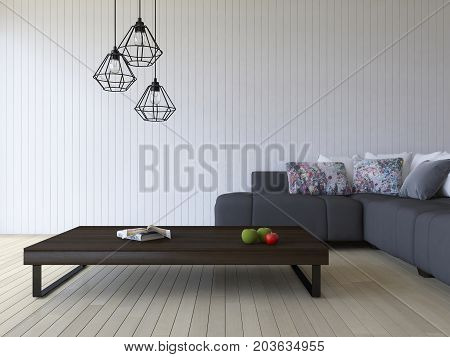 3Ds Rendering White Sofa And Wooden Table