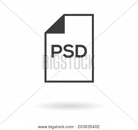 Simple greyscale icon with file and PSD text inside - can be used as button for download or upload .psd file isolated on white with shadow