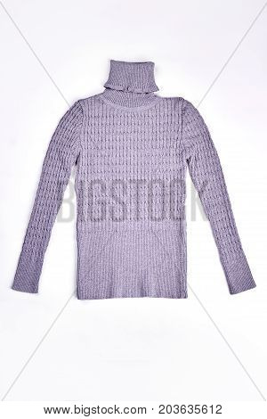 New cable turtleneck gray sweater. Gray warm turtleneck jumper with texture design isolated on white background.