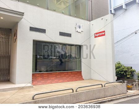 TOKYO JAPAN - July 26 2017 : Supreme store in Tokyo.Supreme is a skateboarding shop clothing brand. established in New York City in April 1994. The brand was originally founded by James Jebbia.