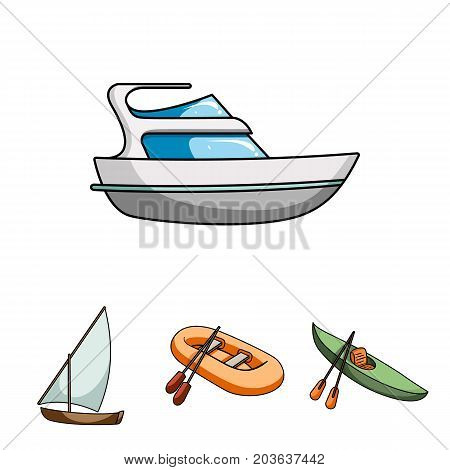A rubber fishing boat, a kayak with oars, a fishing schooner, a motor yacht.Ships and water transport set collection icons in cartoon style vector symbol stock illustration .