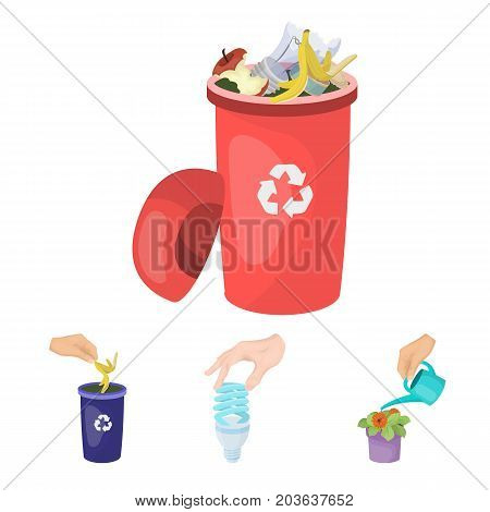 Energy-saving light bulb, watering a houseplant and other  icon in cartoon style. garbage can with waste and garbage icons in set collection.