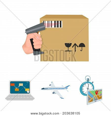 Transport aircraft, delivery on time, computer accounting, control and accounting of goods. Logistics and delivery set collection icons in cartoon style isometric vector symbol stock illustration .