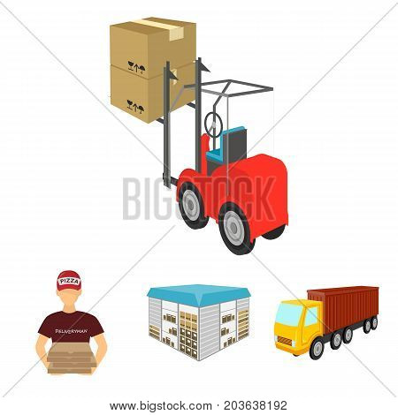 Truck, courier for delivery of pizza, forklift, storage room. Logistics and delivery set collection icons in cartoon style isometric vector symbol stock illustration .