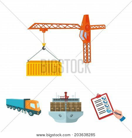 Sea freight, signature of delivery documents, truck, tower crane with a container. Logistics and delivery set collection icons in cartoon style isometric vector symbol stock illustration .