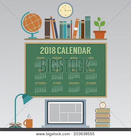 2018 Laptop Workspace No Person Flat Design Printable Calendar Starts Sunday Vector Illustration. EPS 10