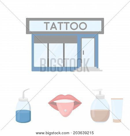 Piercing in tongue, gel, sallon. Tattoo set collection icons in cartoon style vector symbol stock illustration .