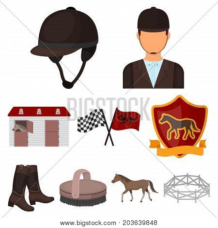 Races on horseback, hippodrome. Horse racing and equipping riders.Hippodrome and horse icon in set collection on cartoon style vector symbol stock web illustration.
