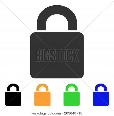 Lock icon. Vector illustration style is a flat iconic lock symbol with black, grey, green, blue, yellow color versions. Designed for web and software interfaces.