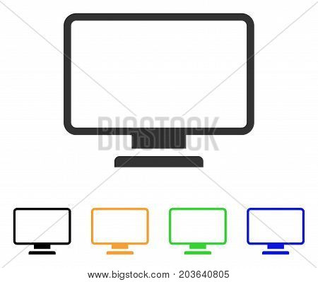 Monitor icon. Vector illustration style is a flat iconic monitor symbol with black, gray, green, blue, yellow color versions. Designed for web and software interfaces.