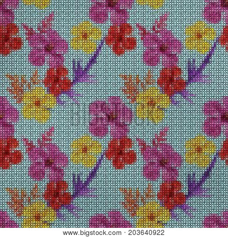 Illustration. Cross-stitch. Hibiscus. Texture of flowers. Seamless pattern for continuous replicate. Floral background collage.