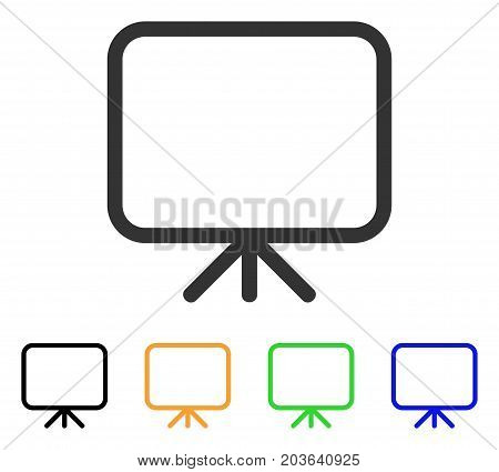 Presentation Screen icon. Vector illustration style is a flat iconic presentation screen symbol with black, gray, green, blue, yellow color versions. Designed for web and software interfaces.