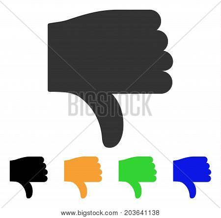 Thumb Down icon. Vector illustration style is a flat iconic thumb down symbol with black, gray, green, blue, yellow color variants. Designed for web and software interfaces.
