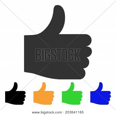 Thumb Up icon. Vector illustration style is a flat iconic thumb up symbol with black, grey, green, blue, yellow color variants. Designed for web and software interfaces.