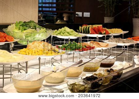 Vegetables Salad Bar On Buffet Line In Restaurant