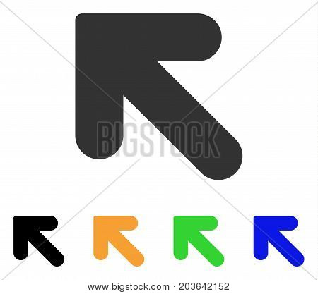 Arrow Up Left icon. Vector illustration style is a flat iconic arrow up left symbol with black, gray, green, blue, yellow color variants. Designed for web and software interfaces.