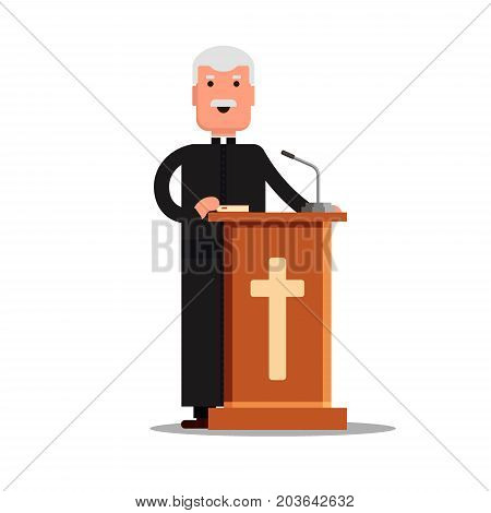 Pastor character standing with cross, Bible, tribune isolated on white background. Preacher man flat style - Vector stock illustration.