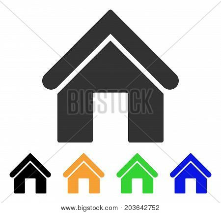 Home icon. Vector illustration style is a flat iconic home symbol with black, grey, green, blue, yellow color versions. Designed for web and software interfaces.