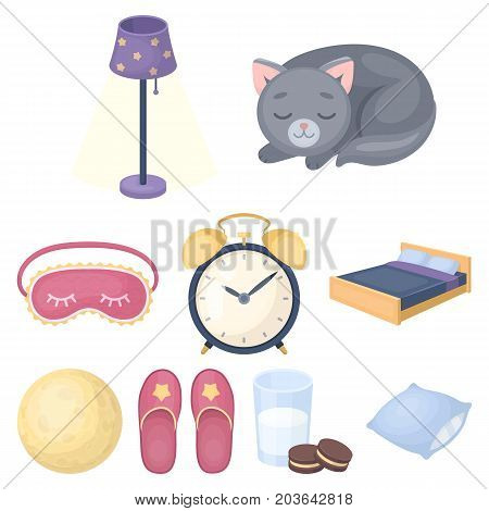 A set of pictures on a theme a dream, rest. Bed accessories for rest.Sleep and rest icon in set collection on cartoon style vector symbol stock web illustration.